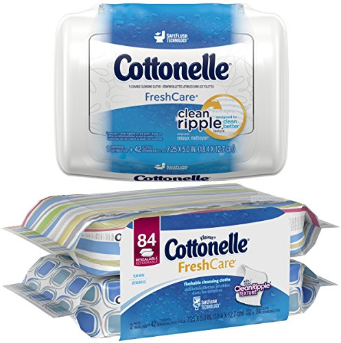Cottonelle Fresh Care Flushable Moist Wipes Bundle, 1-42 Count Tub, Plus 2-42 Count Refills