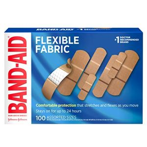 Band-Aid Brand Flexible Fabric Adhesive Bandages for Wound Care & First Aid, Assorted Sizes, 100 ct, Beige 51EZUnWAPWL