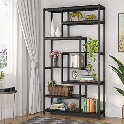 Tribesigns 8-Shelves Staggered Bookshelf, Rustic Industrial Etagere Bookcase for Office, Vintage Book Shelves Display Shelf Organizer for Home Garden (Black)