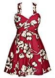 COCOPEAR Women's Elegant Crossover One Piece Swimdress Floral Skirted Swimsuit(FBA) Maroon Floral 4XL/20-22
