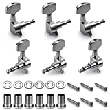 Neewer 6 Pieces Sliver Acoustic Guitar Machine Heads Knobs Guitar String Tuning Peg Tuner(3 for Left + 3 for Right)