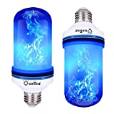 Ouxiinr LED Blue Flame Effect Light Bulb E26 Atmosphere Decoration Fire Flickering Simulation 108 pcs 2835 LED Beads Flame Bulb for Halloween/Christmas Decoration (2 Pack)