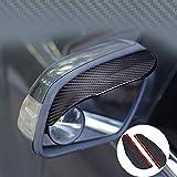 ZaCoo  2 Pcs Mirror Rain Visor Smoke Guard, Carbon Fiber Texture Rear View Side Mirror Rain Eyebrow View Mirror Visor Guard for Most Car, Truck and SUV Black
