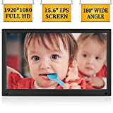 MRQ 15.6 Inch Digital Photo Frame Display Photos with Background Music 1080P Video USB SD Solt Supported, 1280x800 HD Digital Picture Frame with Auto-Rotate, Motion Sensor Function, Remote Control