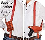 Soft Genuine Leather Tactical Shoulder Gun Holster Fits Glock 19 23 26 27 / H&K VP40 / Springfield Pistols Carry Underarm Handgun | w/Strap and Magazine Clip | Right Hand Draw | Hidden Under Arm |