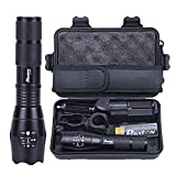 LED Flashlight Powerful Rechargeable 18650 5000mAh Battery Charger Pouch Gift Box Mount Included 1200lm L2 Phixton Handheld Zoomable 5-Mode Aluminium Metal Water-resistant For Hiking Camping Dark Walk