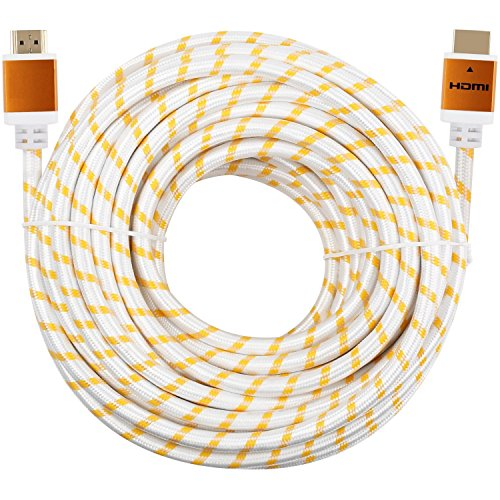 CableVantage Premium HDMI Cable 100FT 100feet V1.4 for 1080P 3D TV DVD PS4 PS3 Xbox One 360 HDTV Monitor Braided Nylon HDMI Cord, Gold Tip White