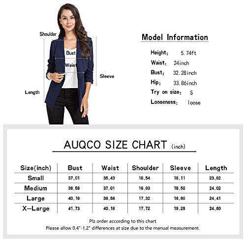 AUQCO Casual Open Front Blazer for Women Work Office Business Jacket Ruched 3/4 Sleeve Lightweight Draped Cardigan 19 Fashion Online Shop gifts for her gifts for him womens full figure