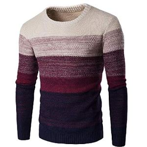 Sweater Men Winter Striped Pullover Men Long Sleeve Knitted O-Neck Gradient Color Sweaters