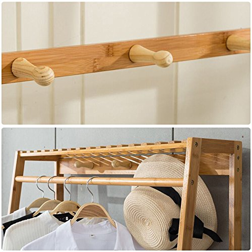 Ufine Garment Rack Bamboo Wood Entryway Coat Rack 40 Tiers Shoe Amazing Wooden Coat Hanger Rack