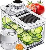 Prep Naturals Adjustable Mandoline Slicer with Spiralizer Vegetable Slicer - Veggie Slicer Mandoline Food Slicer with Julienne Grater - V Slicer Mandoline Cutter - Vegetable Cutter Zoodle Maker