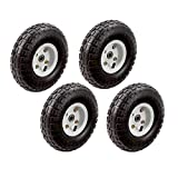 4pc-set of 10 in. Pneumatic Tires on White Wheel