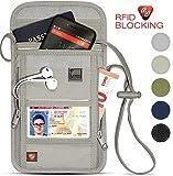 Lewis N. Clark RFID Blocking Stash Neck Wallet, Travel Pouch + Passport Holder for Women & Men, Taupe