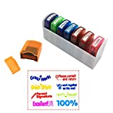 Reliancer Colorful Self-Inking Motivation School Grading Teacher Stamp Set and Tray (8-Piece)