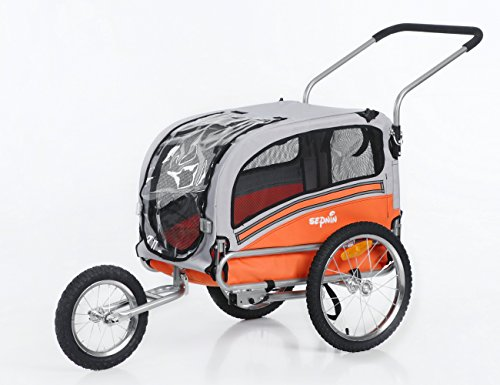 Sepnine & Leonpets 2 in1 pet Dog Bike Trailer Bicycle Trailer and Stroller Jogger 20303 (Orange/Grey)