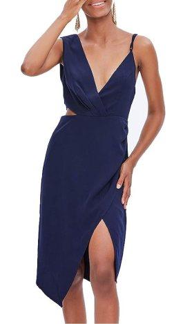 TOP-MAX Women's Dresses - Summer Elegant Spaghetti Straps V Neck Sleeveless Cocktail Club Party Casual Midi Dress Blue