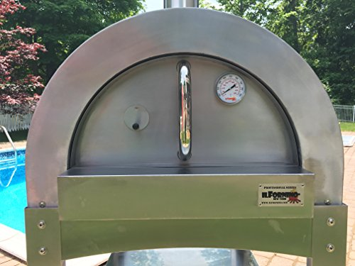 ilFornino Professional Series Wood Fired Pizza Oven - Thicker Gauge Stainless Steel- One-Flat-Cooking-Surface- Double Insulation