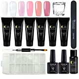 Coscelia Nail Enhancement Gel Kit Nail Extension Builder Gel 6 Colors Poly Nail Gel Professional Nail Technician All-in-One French Kit