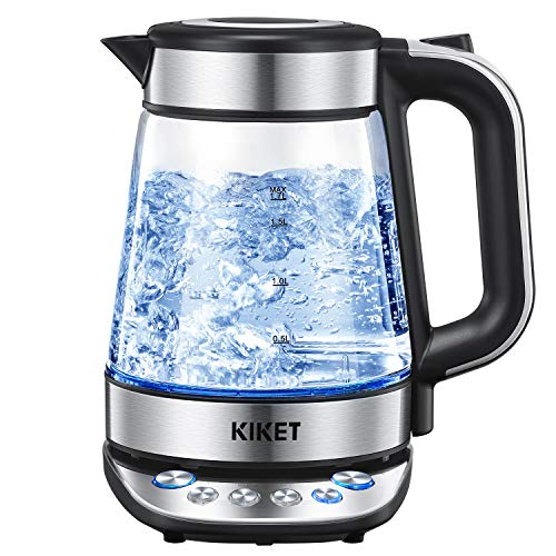 Electric Kettle Temperature Control, 100% BPA Free Pure Glass Water Boiler, 1.7L Cordless Tea Kettle with LED Indicator Light, High End Design for Tea and Coffee Brewing, Boil Dry Protection, by KIKET