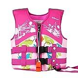 Vine Kids Swim Vest Toddler Life Jacket Kids Life Jackets Floation Swimsuit Buoyancy Swimwear, Pink, L/7-10 Years