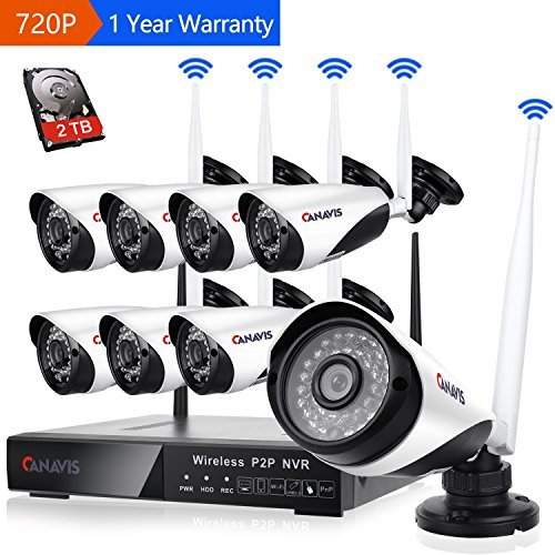 8 Channel Wireless Security Camera System NVR Video Surveillance System 720p Bullet Camera with Night Vision Motion Detection Backup Hard Drive for Indoor Outdoor