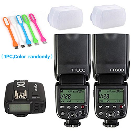 2X Godox TT600 High Speed Sync 2.4G Wireless Camera Flash Speedlite +Godox X1T-C Remote Trigger Transmitter for Canon+2xDiffuer + HuiHuang USB LED free gift