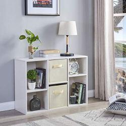 EZFurni Wood 6 Cube Organizer, Bookcase Storage, Freestanding Display Bookshelf, Moveable Cubeical Shelf, White Oak