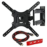 Full Motion TV Wall Mount Monitor Bracket for 32' - 52' LED, LCD and Plasma Flat Screen Displays up to VESA 400x400. Universal Fit, Swivel, Tilt, Articulating with 10' HDMI Cable