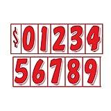 7 1/2' Vinyl Number Decals 11 Dozen Car Lot Windshield Pricing Stickers (7 1/2 inch, Red On White)