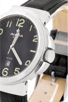 ALPHA SAPHIR Mens Black Leather watch-123A