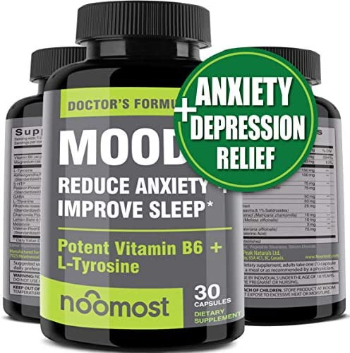 Mood Support - Anxiety Relief Supplement Mood Boosts, Reduces Stress Relief & Depression - L Tyrosine, Ashwagandha, 5 HTP, Passion Flower, L Theanine, GABA, Valerian Root, Rhodiola Rosea by NooMost 1