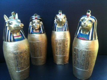 Set of 4 Egyptian Gold God Canopic Jars Statue Figure Ornament Ancient Egypt by Funky Gadget Store 3