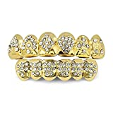 TOPGRILLZ 18K Gold Plated Iced Out Hip Hop Poker Diamond Top & Bottom Teeth Caps Grillz Set