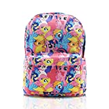 Finex My Little Pony Pink Canvas Cute Cartoon Casual Backpack with 15 inch Laptop Storage Compartment for Girls Daypack Travel Snack Sport Book Bag Gift