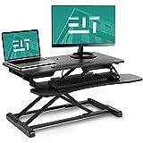EleTab Standing Desk Converter Sit Stand Desk Riser Stand up Desk Tabletop Workstation fits Dual Monitor 32' Black