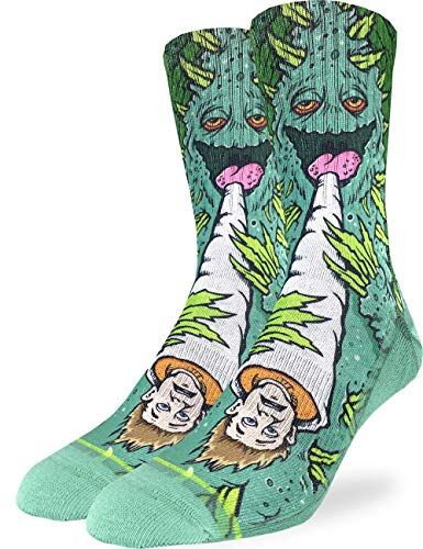 Good Luck Sock Men's Weed Smoking a Human Socks - Green, Adult Shoe Size 8-13