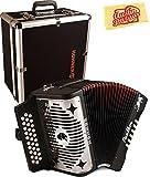 Hohner Panther Diatonic Accordion - Keys F/Bb/Eb Bundle with Hard Case and Austin Bazaar Polishing Cloth