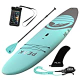 Peak Escape Stand Up Paddle Board | Rigid Hard Soft Top SUP Package | 10'5' Long x 32' Wide x 4.5' Thick | 250 lb Capacity