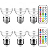 Yangcsl 3W Timing Remote Controller RGBW Color Changing LED Light Bulbs, Double Memory and Wall Switch Control, RGB + Daylight White, 20W Incandescent Bulb Equivalent (Pack of 6)