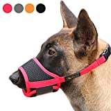 Heele Dog Muzzle Nylon Soft Muzzle Anti-Biting Barking Secure,Mesh Breathable Pets Mouth Cover for Small Medium Large Dogs 4 Colors 4 Sizes (M, Red)