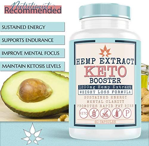 Hemp Oil Capsules for Pain & Ketosis   Advanced BHB Exogenous Ketones Supports Weight Management, Appetite Control, Increase Metabolism, Energy and Mental Focus - Pure Hemp Oil Supplements 60 Capsules 8