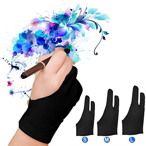 LUCKSTAR Artist Glove Pack of 2 - Anti-fouling Drawing Glove Graphic Drawing Tablet 2-Fingers Glove Artist Gloves for Light Box/Graphic Tablet/Pen Display/iPad Pro Pencil (S)
