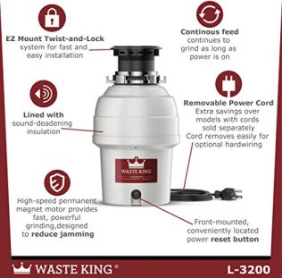 Waste-King-L-3200-Garbage-Disposal-with-Power-Cord-34-HP