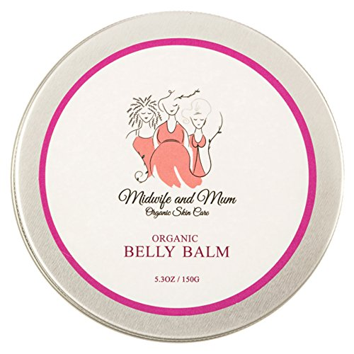 Organic Belly Balm - Helps Prevent Stretch Marks- Mom Designed & Midwife Approved - Shea Butter/Coconut Oil-Tummy Butter to Soothe Dry Itchy Skin - Safe for Babies, Children, Pregnancy & Postpartum