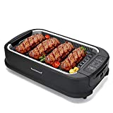 Techwood Smokeless Grill Electric BBQ Plate Searing Grill Indoor/ Outdoor Compact & Portable Grilling Use with Interchangeable & Removable Griddle Nonstick Plate & Extra-Large Drip Tray with Advanced Turbo Smoke Extractor Technology, Adjustable Temperature Control