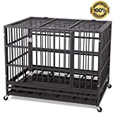 JY QAQA PET 48' Heavy Duty Dog Cage-Strong Folding Metal Crate Kennel and Playpen for Medium and Large Dogs with Double Door, Two Prevent Escape Lock, Tray and Rolling Wheels