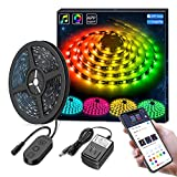 MINGER Dreamcolor 5M/16.4 Ft RGB LED Strip Lights, APP Control MusicPro Waterproof Flexible Tape Lighting Kit with Power Supply, DIY for...
