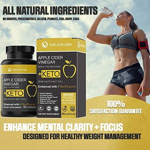 Apple Cider Vinegar Capsules with Mother + Keto Diet Pills, BHB Salts with MCT Oil, Includes 100 Ketone Test Strips, Exogenous Ketones for Instant Keto, Use Fat for Energy, Boost Metabolism Men, Women 8