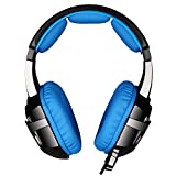 LETTON G1 USB Surround Sound Stereo Over Ear Gaming Headsets with Microphone LED Volume Control and Vibration for PC Gamers (Black Blue)