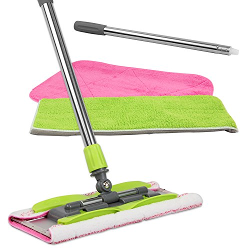 LINKYO Microfiber Mop | Hardwood Floor Mop | 3 Flat Mop Pads and Stainless Steel Handle with Extension